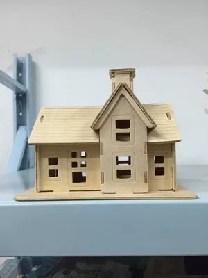 Building Toys Wooden Build House Miniature Model 3D DIY Country Station Design Scale Models