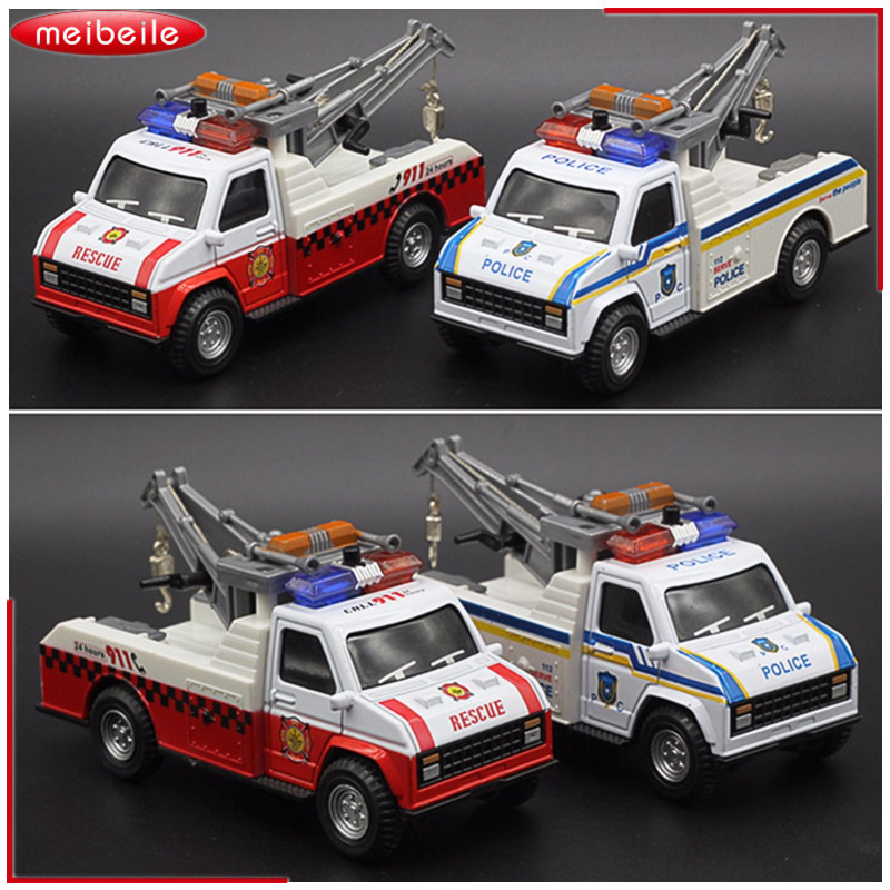 1:28 Die Cast Metal Voiture Model Truck With Hoisting Machine And Four Tone Flashing Siren Toy Car Model For kid birthday Gift ...