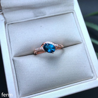 KJJEAXCMY fine jewelry 925 sterling silver inlaid with natural London blue topaz lady ring simple new line