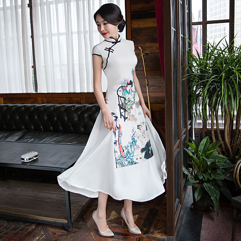 2019 Vietnam Ao Daivietnam Clothing Vintage Clothing Asian Dress Elegant Party Dress Traditional Embroidery Printing
