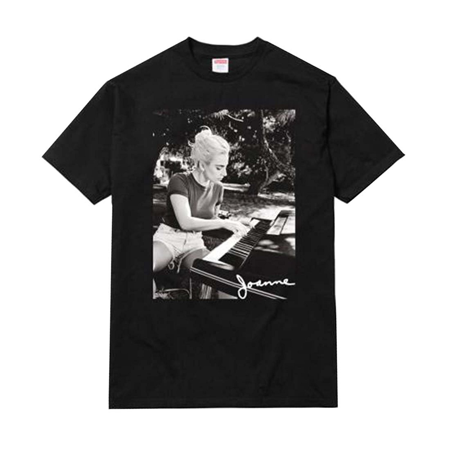 Gildan Lady Gaga Joanne Piano Photo Adult T-Shirt Hip Hop Short Sleeve Casual Printed Tee Size S-3Xl