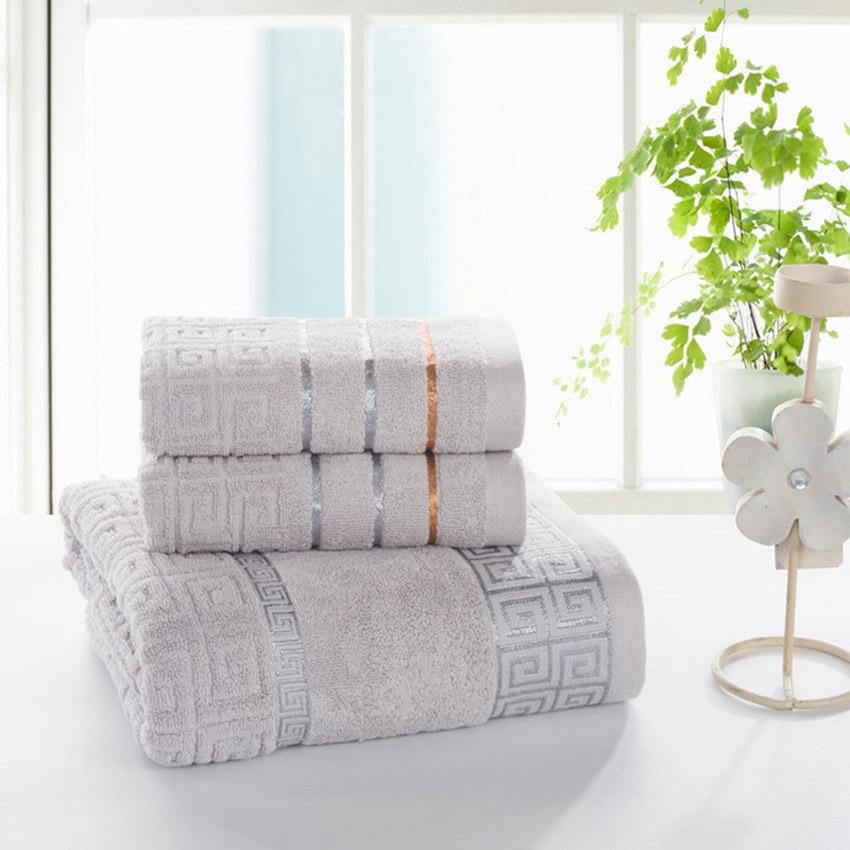 Plaid 100% Cotton Face Hand Bath Towel Set for Adult Bathroom 650g 3pcs/set Towel Sets