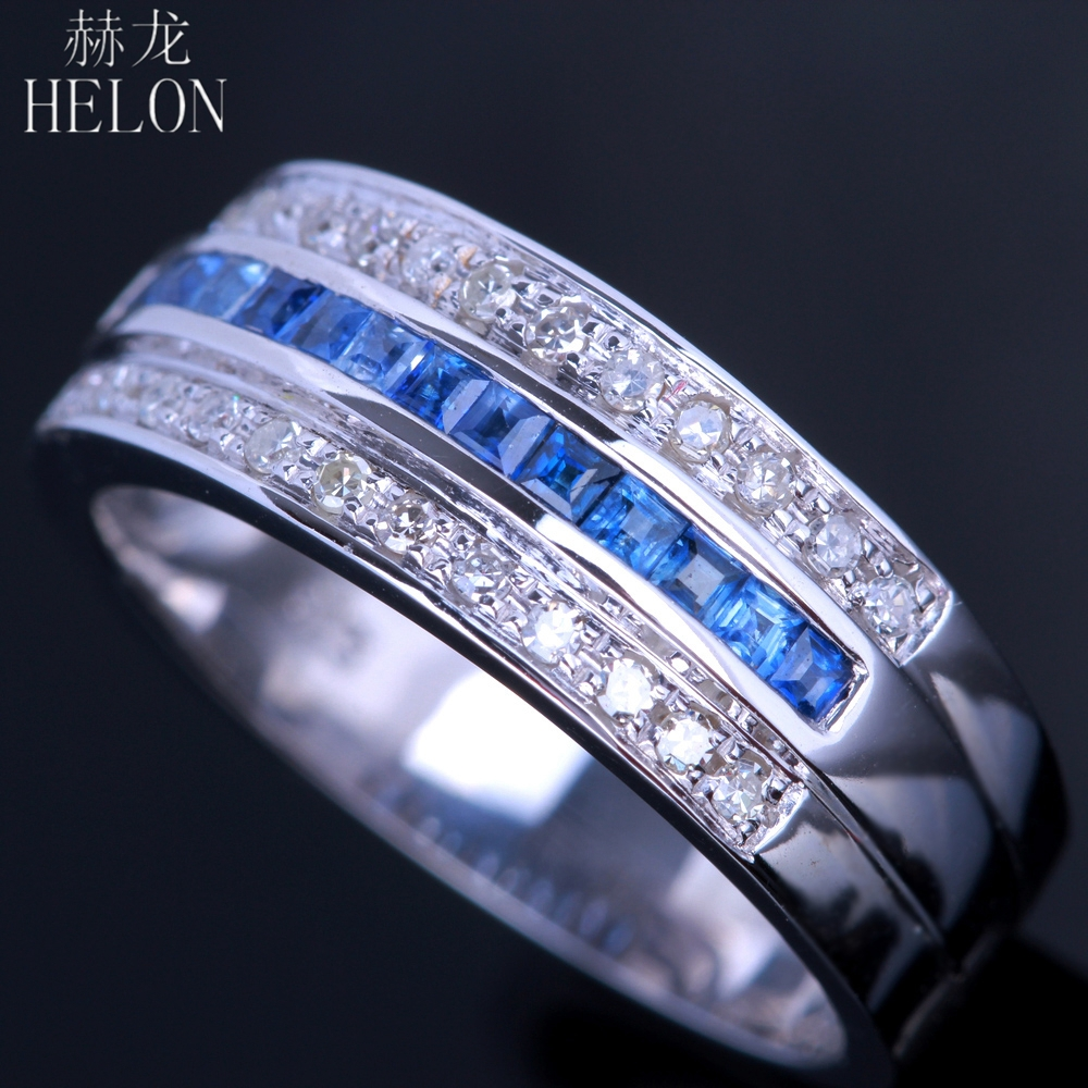 HELON Solid 10K (417) White Gold Brilliant 0.7ct Real Natural Diamonds & Genuine Sapphires Jewelry Engagement Wedding Ring Band