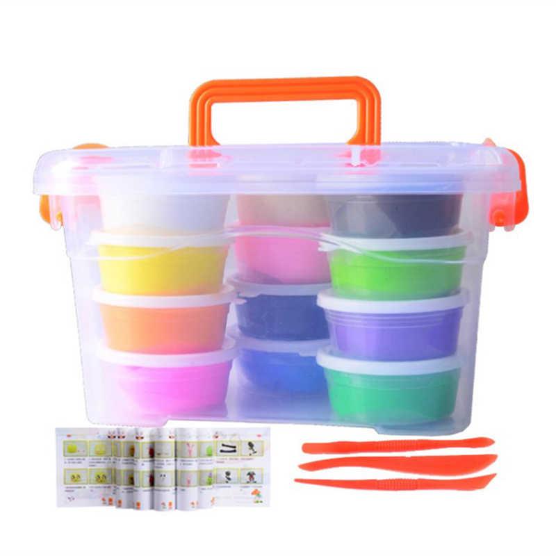 12 Цвет мягкого пластилина свет Полимерная глина Пластилин Play Тесто пушистый слизь игрушки глиняные инструменты для детей DIY Craft