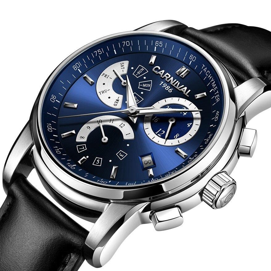 High end Mechanical watch CARNIVAL Luxury Multifunction Automatic watch men Week Month Calendar 24hours Luminous Montre