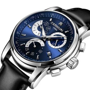 High end Mechanical watch CARNIVAL Luxury Multifunction Automatic watch men Week Month Calendar 24hours Luminous Montre homme