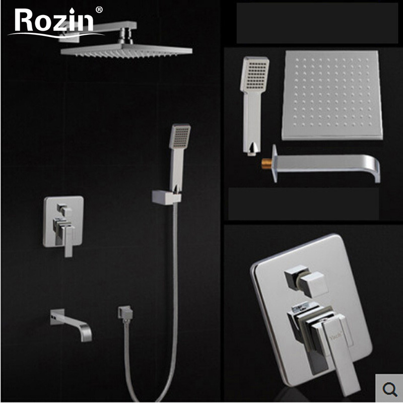 Luxury Bathroom Rainfall Shower Mixer Faucet Wall Mount Bath Shower Faucet Tap Chrome Finish with Tub Spout fie new shower faucet set bathroom faucet chrome finish mixer tap handheld shower basin faucet