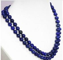 Women jewelry choker anime gem chocker blue lapis lazuli stone jasoer 6MM 8mm 10mm 12mm round beads chain necklace