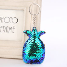 Cute Women Pineapple Keychain Glitter Sequins Key Ring for Women Handbag Purse Pendants Holder Keyring Porte Clef Llaveros(China)