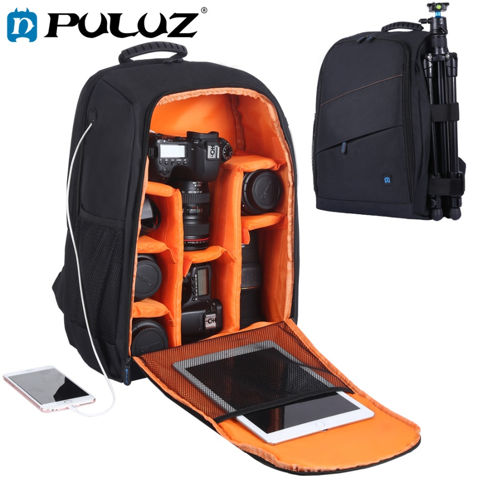 лучшая цена PULUZ Outdoor Portable Waterproof Scratch-proof Dual Shoulder Backpack Camera Bag Digital DSLR Photo Video Bag with Rain Cover