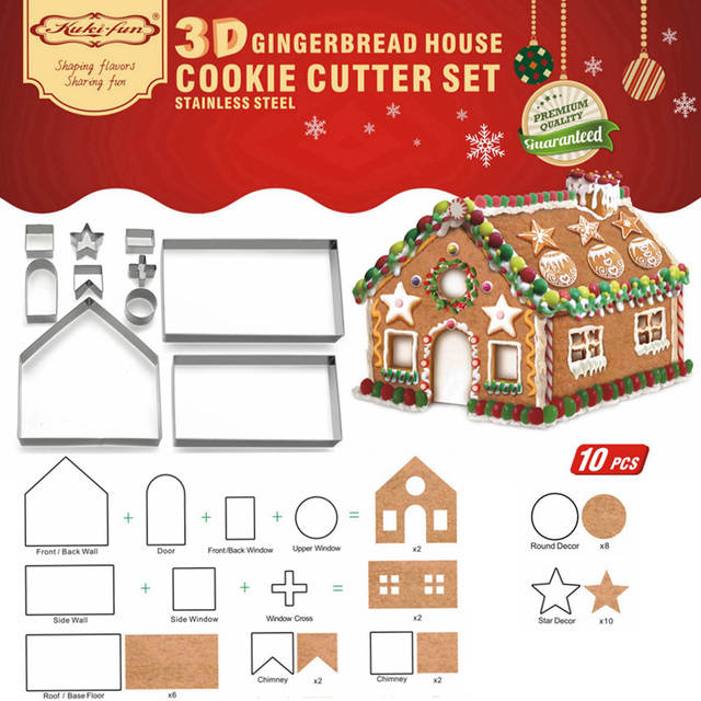 Online Shop 10pcs 3d Gingerbread House Stainless Steel Christmas