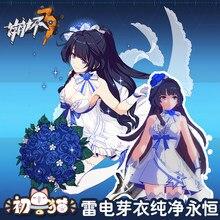 Honkai Darbe 3rd Raiden Mei Saf ebedi çiçek düğün elbisesi Raidem Mei cosplay kostüm kadınlar için elbiseler çorap