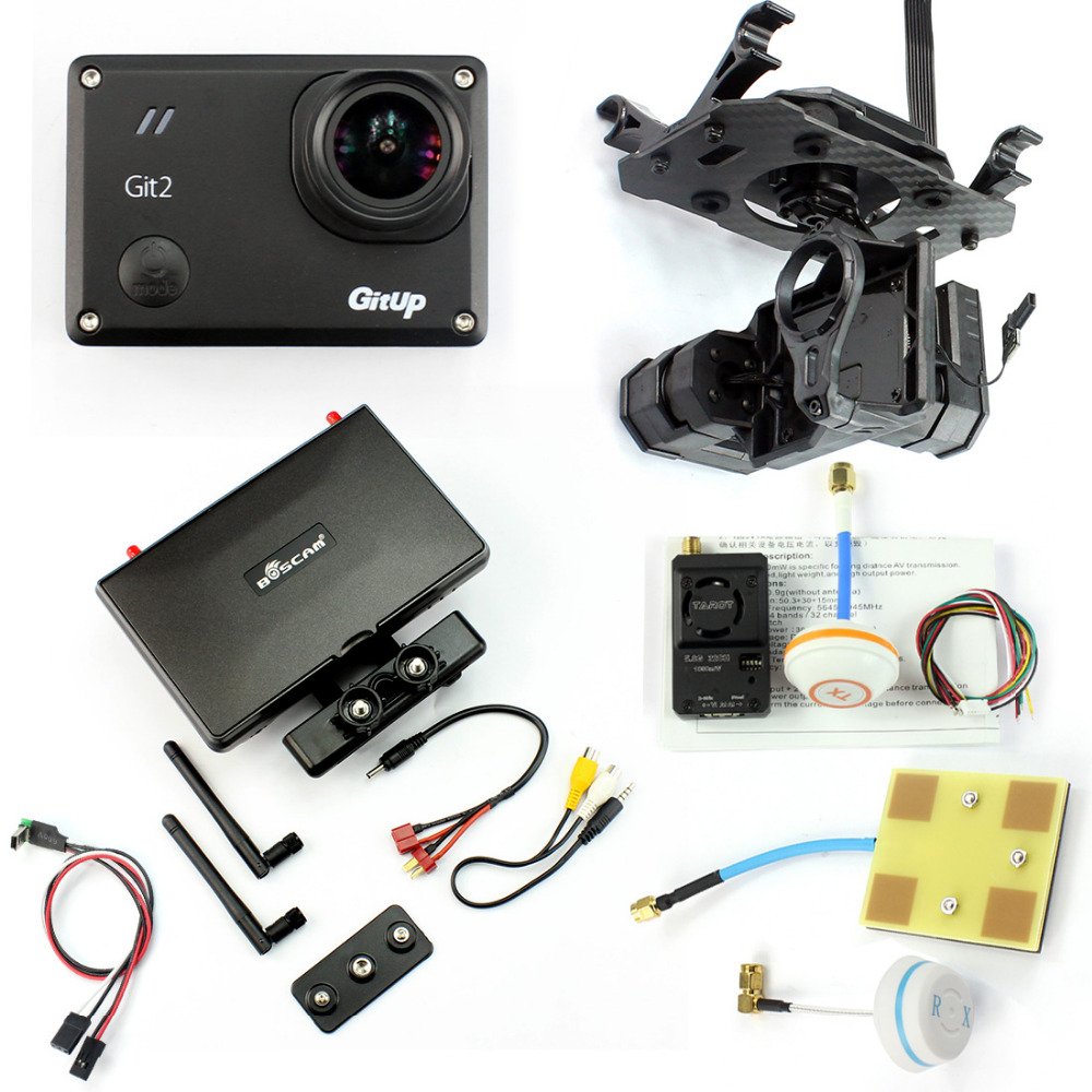 DIY Drone FPV Set with 1000mw Transmitter 7 Inch FPV Monitor Tarot T4-3D 3-axis Gimbal Gitup git2 Camera FPV Cable Panel with two batteries yuneec q500 4k camera with st10 10ch 5 8g transmitter fpv quadcopter drone handheld gimbal case