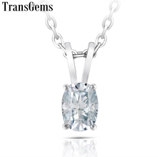 Transgems Platinum Plated Silver 1ct 5X7mm Slight Blue Color Moissanite Pendant Necklace for Women Gift Sterling Slide