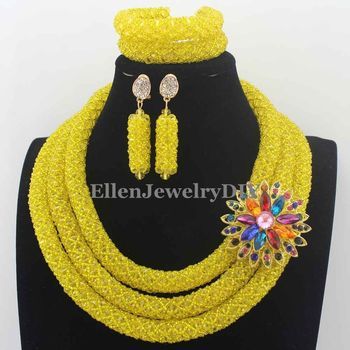 Charming Yellow Nigerian Wedding Crystal Beads Jewelry Set Indian Bride Gift Costume Jewelry Set New Hot Free Shipping W13811