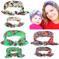 2pcs Fashion Baby Girls Top Knot Headband  parent-child suit rabbit ears hair band baby hair band headdress