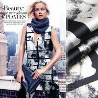 Sedoso calidad de impresión de tela de seda de tela de seda Satén pesado Del Estiramiento tela vestido de la manera del arte [OPPLE]