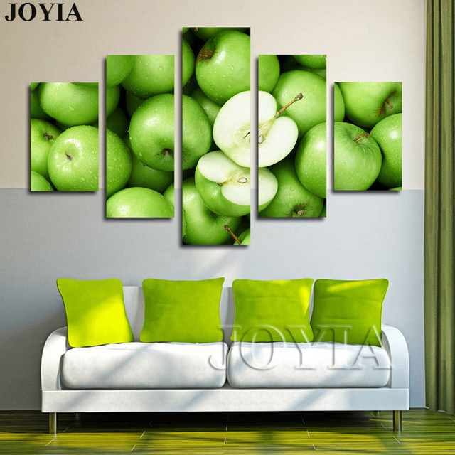 5 Piece Fresh Green Apple Wall Art Pictures Kitchen Dinning Room ...