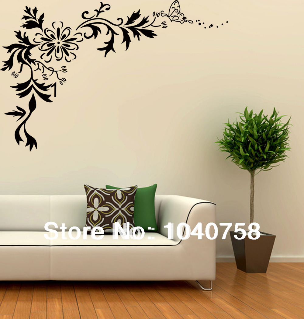 Aliexpresscom Buy Large Black Wall Sticker Flower Floral Tribal