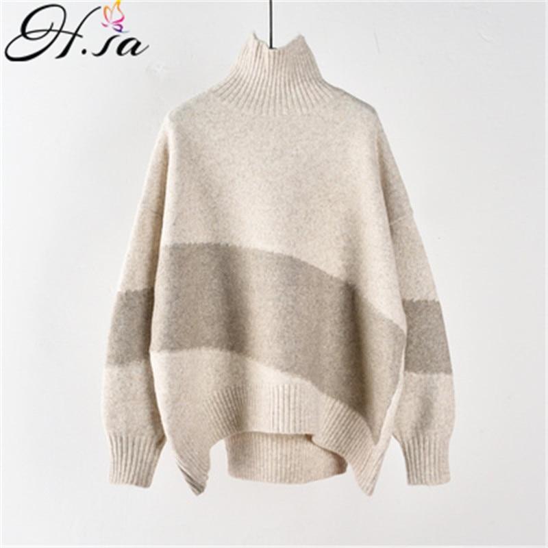 Свитер с высоким воротом H.SA, свободный свитер в Корейском стиле, серый, зимний, теплый|Водолазки|   | АлиЭкспресс