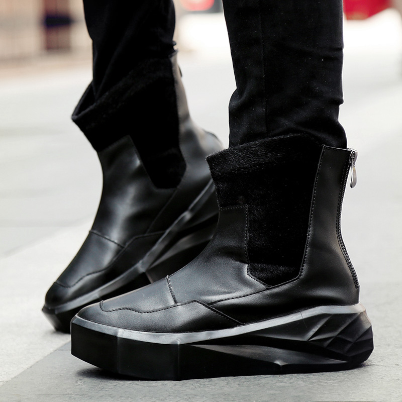 British Retro street Punk rock Hip Hop boots Men black Dance Platform Flats Fashion martin boots High Top Zapatillas Hombre high street fashion men s jeans high quality elastic hip hop jeans men punk pants brand black stripe printed skinny ripped jeans