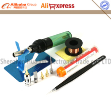 Aerated Flame Butane Gas Soldering Iron Kit Set Pen Flame Torch DIY Tool Cordless Solder Iron+5/PCS Tips nozzle+tweezers+Solder(China)
