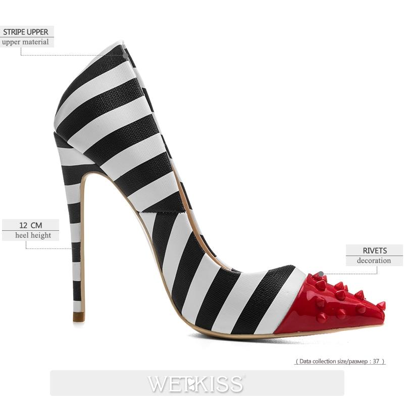 Dames Bout Chaussures Femmes Pointu Noir Mouillé Partie Haute 2019 Stilettos Pompes 12 Baiser Peu 45 Talons Profonde Femme Printemps Rayé Rivet Cm QorBeWExdC