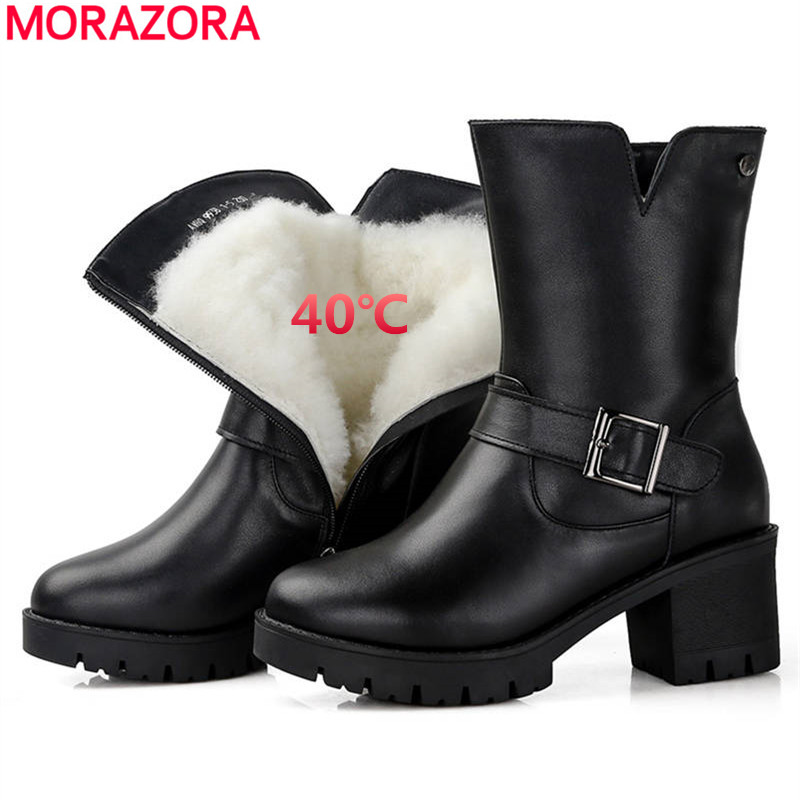 MORAZORA TOP quality 2018 winter snow boots women wool genuine leather boots round toe zip platform shoes ankle boots female цена 2017
