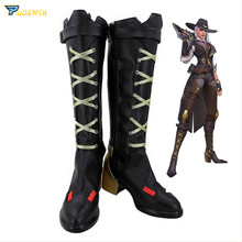 цены OW Ashe Cosplay High-heeled Shoes for Women Game Cosplay Ashe High Boots Zipper Shoes Black Golden Custom Made