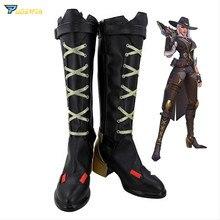 купить OW Ashe Cosplay High-heeled Shoes for Women Game Cosplay Ashe High Boots Zipper Shoes Black Golden Custom Made по цене 3233.11 рублей