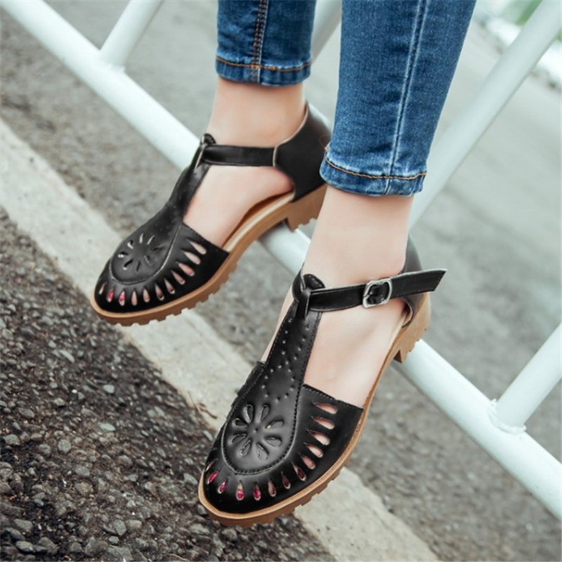 Plus Size 34-43 Summer bullock Cut Outs Women Shoes Soft Outsole Woman Flat Sandals Fashion Casual Comfortable Beach Sandals fashion summer flat slippers female soft indoor slip resistant outsole flip sandals plus size beach shoes