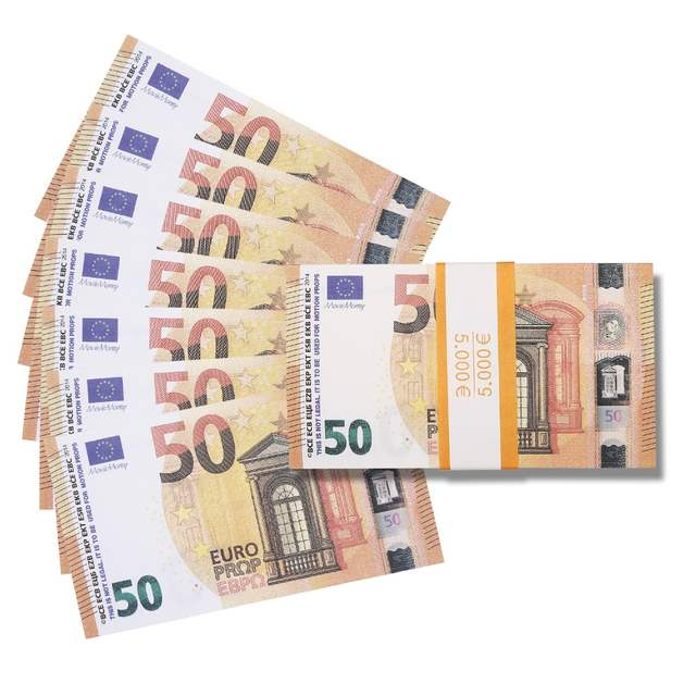 PROP MONEY REALISTIC EUROS |50 NOTES - Free Spare Bank Note Strap  Perfect  for Movies Films Advertising Social Media Real