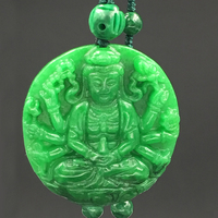 World Peace Guanyin Portrait Hand Carved Bijou Pendant Necklace Women Men Natural Dry Green Iron Dragon Stone Necklaces Long