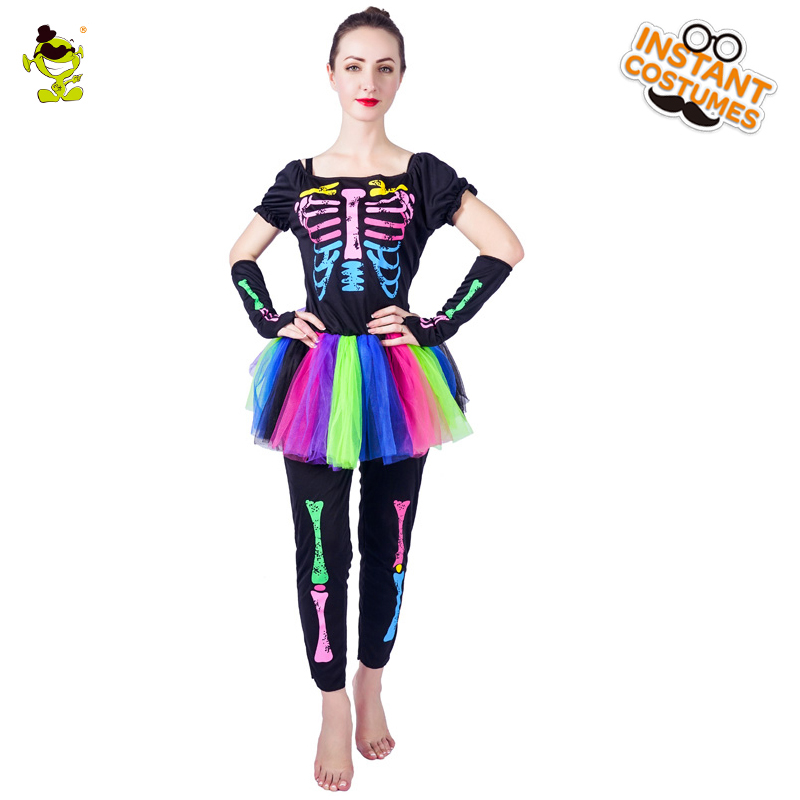 Colorful Skeleton Tutu Dress Costumes Women Halloween Party Pretty Skull Girl Cosplay Fancy Outfits Adult Rainbow Skullman Set