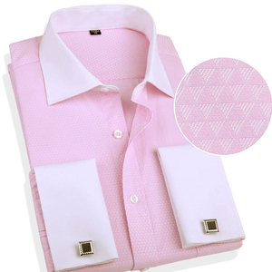 Image 5 - Классическая рубашка с французскими манжетами, однотонная саржевая Мужская рубашка для смокинга вечерние ринки и свадьбы с нагрудным карманом