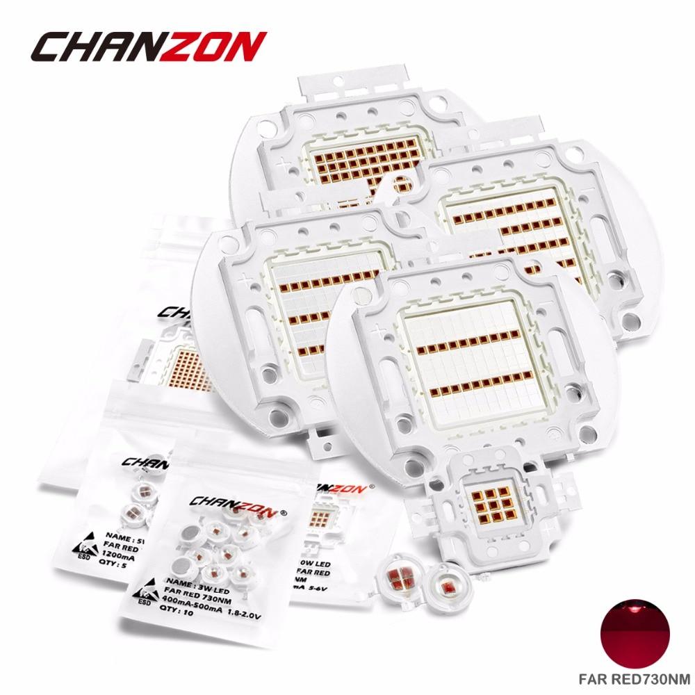 High Power LED Chip Far Red 730nm 3W 5W 10W 20W 30W 50W 100W Emitter Lamp Light Bead COB 730 nm 3 5 10 20 30 50 100 W Watt