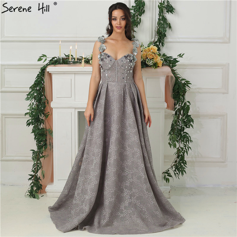 2019 Grey Sequined Flowers Lace Evening Dresses New Sexy Sleeveless Fashion Beach Evening Gowns Serene Hill LA6539
