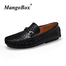 Man Casual Shoes Black Brown Slip-on for Male Genuine Leather Loafers Flat Spring Autumn Anti-slip Driving