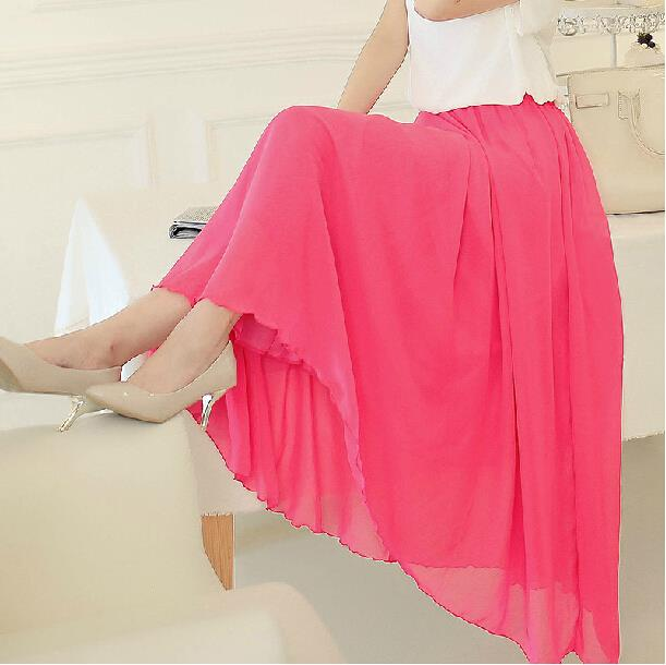 Wholesale Women Chiffon Long Chiffon Skirts Candy Color Pleated Solid Maxi Skirts 2016 Autumn Summer Skirts