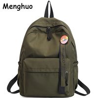 Menghuo Badge Women Backpack Ribbons School Bags For Teenagers Girls Fashion Bags Classic University Student Backpacks