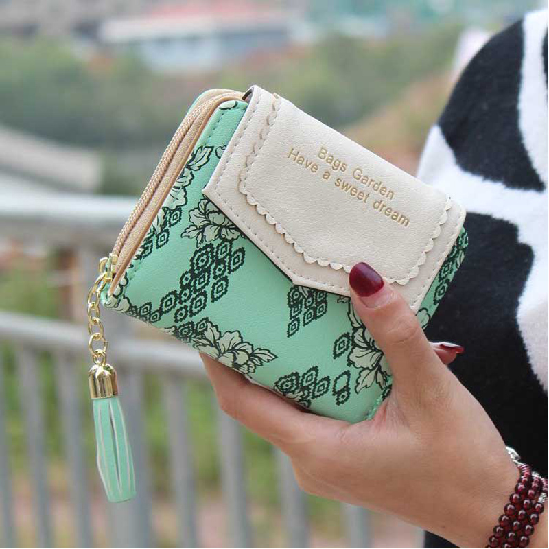 Vintage Women Flower Wallet Short Design Floral Purse Zipper Credit Card Holder Girl Peony Print Tassel Hasp Wallets For Women brand new 2018 fashion women wallet tassel short wallets large capacity zipper hasp ladies bag purse money female credit card