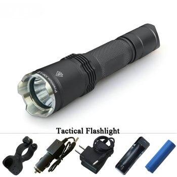 long range hunting flashlight XM L2 tactical torch flashlight self defense flash light 18650Rechargeable waterproof lampe torche