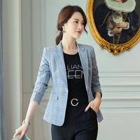 womens blazers long sleeve woman slim plaid blazer for office veste femme printemps 2019 spring abrigo mujer formal coat femme
