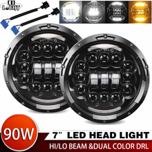 CO LIGHT 7inch LED Headlight 180W Angle Eye DRL Turn Singal 12V 24V Hi/Lo for Jeep Wrangler Lada Niva 4x4 Offroad Driving Lights