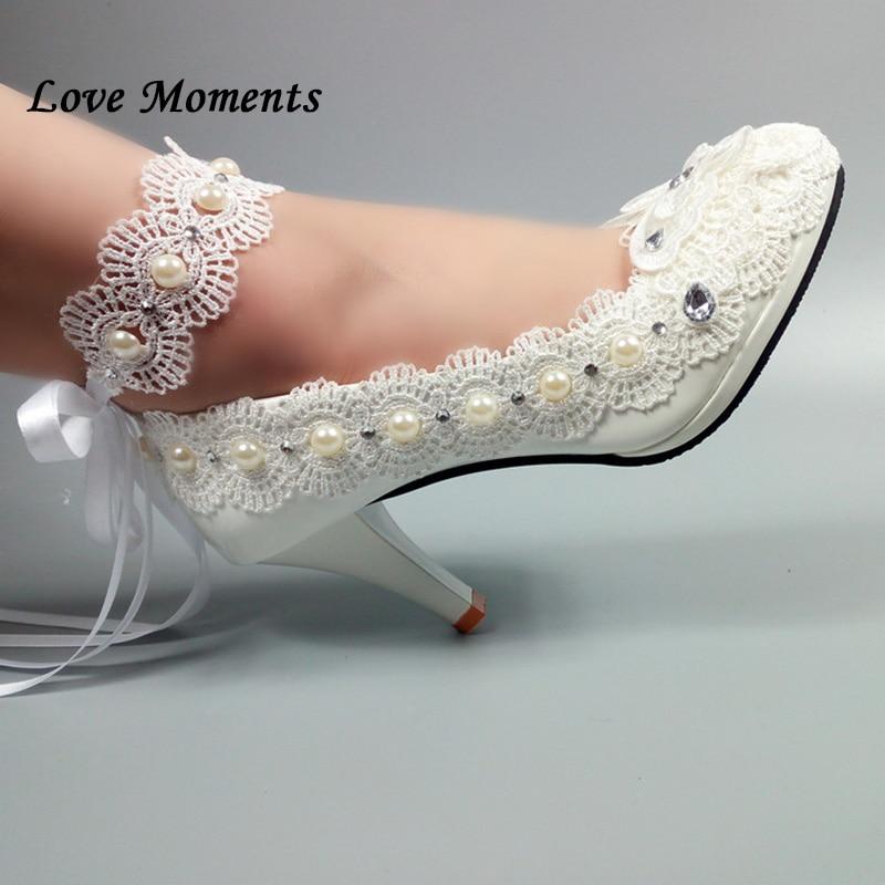 Love Moments cuir verni bride à la cheville blanc dentelle chaussures de mariage femme talon haut plate-forme chaussures dames pompes fleur boucle