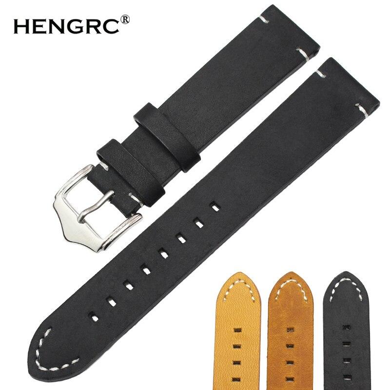 Italian Genuine Leather Handmade Watchband 18mm 20mm 22mm Man Women Dark Brown Black Vintage Wrist Watch Strap Belt Pin Buckle