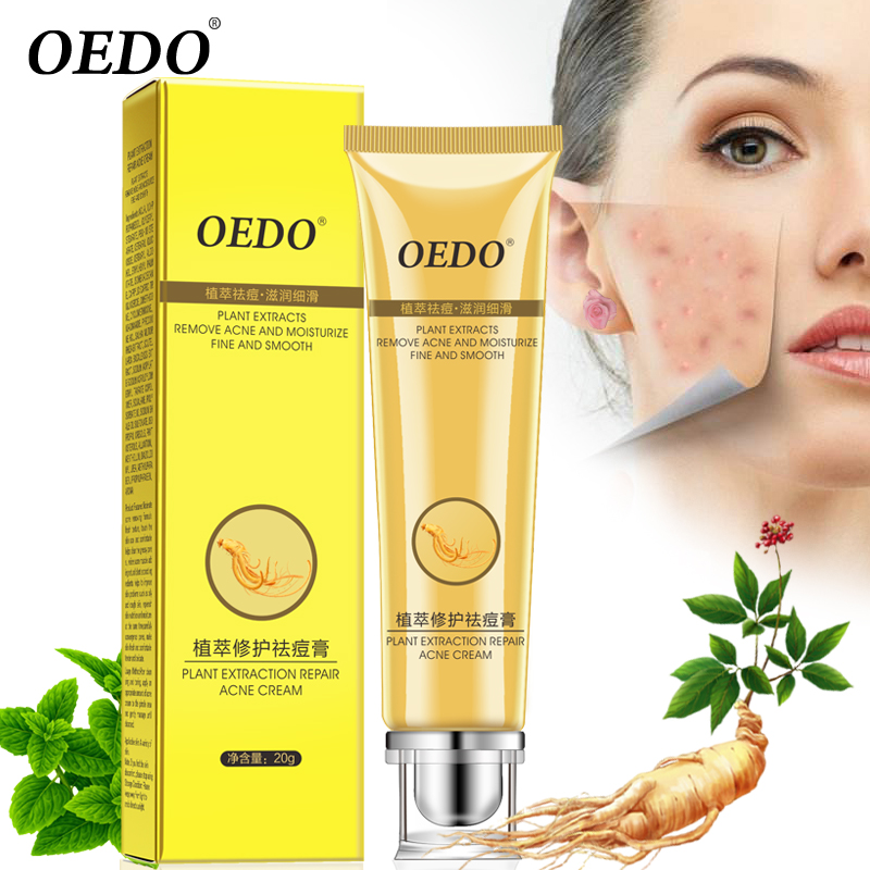 Plant Extraction Repair Acne Cream Ginseng Scutellariae Extract Face Care Ance Treatment Skin Care Facial Cream Whitening 20g