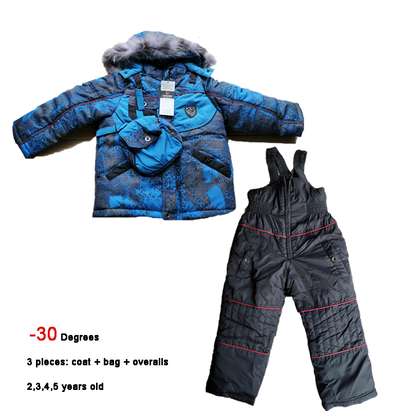 -30 Snowsuits Kids Winter Sets age 2 3 4 5 years Baby Ski Suits 3 pieces Warmly Boys Winter Snow Jackets Infant Children Outwear
