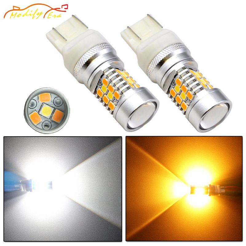 Modify.Era 2pcs 7443 7444NA T20 Car LED Bulbs For DRL Turn Signal Lights Dual-Color Switchback 28-SMD High Power Auto Led Lights