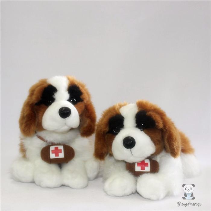 Cute St Bernard Plush Alpine Rescue Dog Toy Simulation Animals